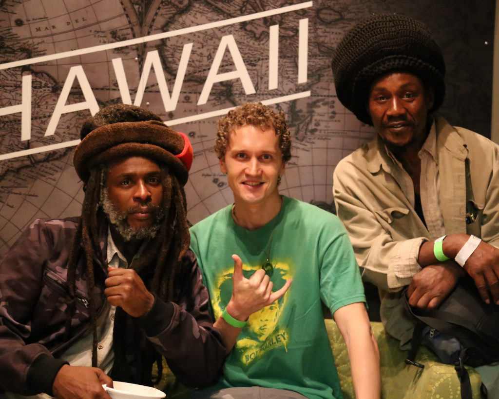 Lion-I with Steel Pulse's frontman David Hinds (L) and Maacho (R)